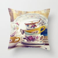 SALE Pillow Cover, Vintage Tea Cups, Photo PIllow, Spring Decor, Living Room, Bedroom, Shabby Chic 16x16, 18x18, 20x20