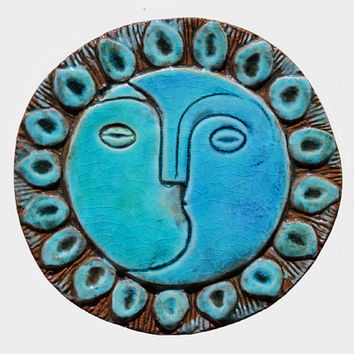 moon & sun wall decor - wall art - home decor - wedding gift - garden decor - turquoise - wall hanging - decorative plate