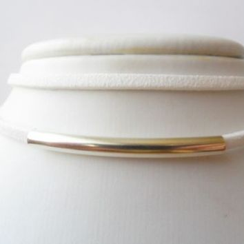 Double suede white choker necklace silver / gold tube size 30 - 35 ~ 51 - 55 CM | eBay