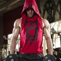 Fashion Men Cotton Bodybuilding Sleeveless Hoodie Tracksuit Tops Muscle Fit Gyms Clothing Casual Men Hoodie Workout Clothes