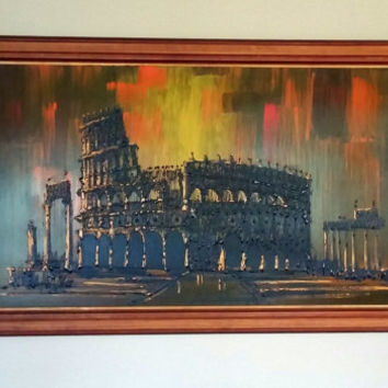 70s REVIVAL Oil PAINTING - VANGUARD Original -  Impressionistic Pallet Knife Painting  - Roman Coliseum  Italian Landscape -Oil on Canvas