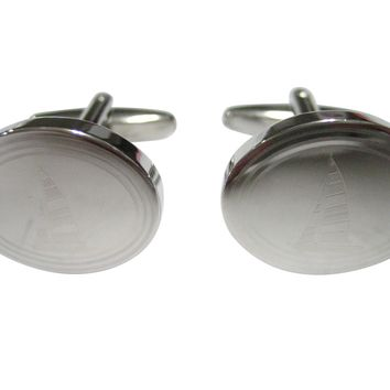 Silver Toned Etched Oval Nautical Sail Boat Cufflinks