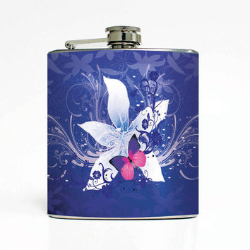 Flower Butterfly Crystal Designer 6 Oz Liquor Stainless Steel Hip Flask Weddings Groomsmen Bridesmaids Gift Whiskey Flask