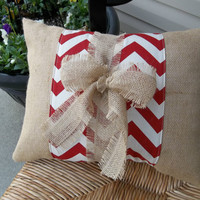 "Chevron Print Band on Natural burlap Pillow with burlap tie 14"" x 18"", decorative pillow, throw pillow, burllap home decor"