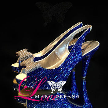 Sapphire crystals with silver bow details Luxury Slingbacks