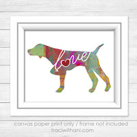 German Shorthaired Pointer (GSP) Love - Canvas Paper Print: A Bright & Colorful Abstract Watercolor Style Art Piece - Pointing, Pointer