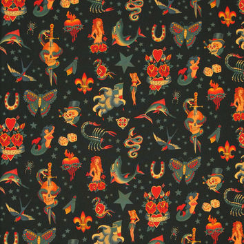 ALEXANDER HENRY Tattoo Black Cotton Fabric 1/2 yard