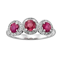 The Regal Collection 14k White Gold Genuine Ruby & 1/5-ct. T.W. IGL Certified Diamond 3-Stone Frame Ring (Red)