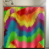 colorful ikat wave shower curtain bathroom decor fabric kids bath white black custom color curtains