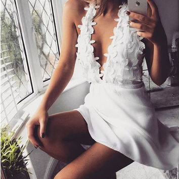 White V-Neck Halter Lace Dress