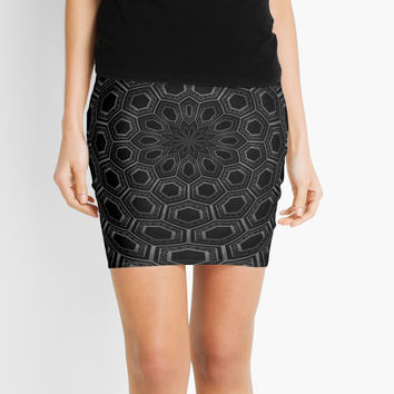 'radial abstract black and white' Mini Skirt by VanGalt
