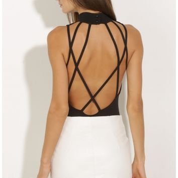 Tops > Strappy Open-Back Bodysuit In Black
