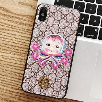 GUCCI New Stylish Cute Doll Pattern Mobile Phone Cover Case For iphone 6 6s 6plus 6s-plus 7 7plus 8 8plus X XS Max XR