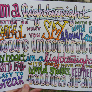 Lightweight Lyric Drawing by TaylorandEmilysEtsy on Etsy