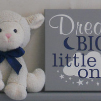 Dream Big Little Ones, Gifts for Twins, Gray and Navy Twin Baby Boys Nursery Decor, Twins Gift