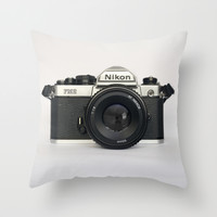 Classic chemicol retro camera. 35 mm format camera Throw Pillow by Guido Montañés