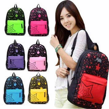 2014 Unisex Packsack Backpack Shoulders Bag Stars Printing Schoolbag Traveling [8081693767]