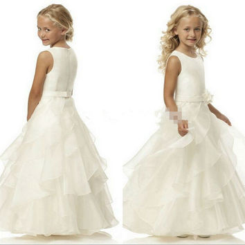 Flower Girl Dresses Organza Ball Gowns Cute Little Girl Prom Dresses with Free 2 Hoop Petticoat for 2016 First Communion Dresses