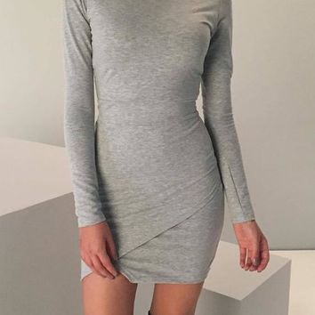 Streetstyle  Casual Light Grey Plain Irregular Round Neck Long Sleeve Mini Dress