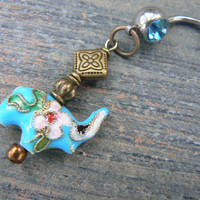 Lucky elephant belly ring TURQUOISE cloisonne sacred elephant belly dancer zen yoga boho hipster fantasy  tribal fusion style