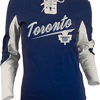 Old Time Hockey Toronto Maple Leafs Women's Adina Laceup Jersey T-Shirt