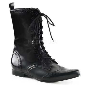 Pleaser Female 1 Inch Block Heel, Wingtip Lace-Up Mid-Calf Oxford Boot BRO10
