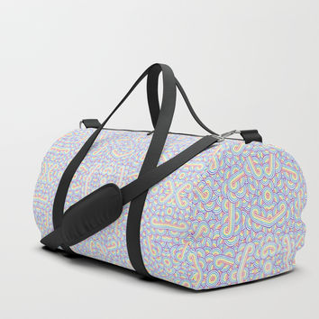 Rainbow and white swirls doodles Duffle Bag by Savousepate