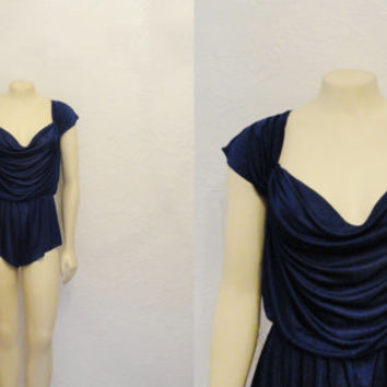 Vintage Teddy 70s John Kloss for Cira Indigo Blue Super Soft Satin Flowing Draping Onsie Romper Size Medium