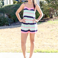 Pink and Green Stripe Romper