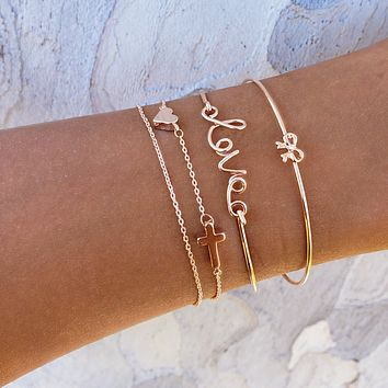 Love Cross Bracelet Set