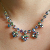 1950s Rainbow Iris Glass Necklace and Screw Back Earrings Set