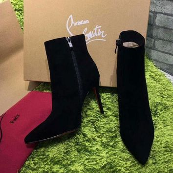 ONETOW Best Online Sale Christian Louboutin CL Top Suede Ankle Boot Black