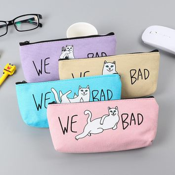 Candy Color Kawaii Lazy Cat Pencils Case Canvas School Supplies Bts Stationery Gift Estuches School Cute Pencil Box PencilBags