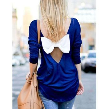 DCCKI2G Bow Backless Chiffon Shirt Blouse