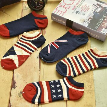 Unisex 5pcs Striped Stars Socks