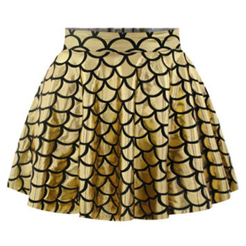 Gold    Scale Printed Skirt