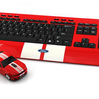 LandMice Ford Mustang GT Wireless Computer Keyboard and Mouse - Red