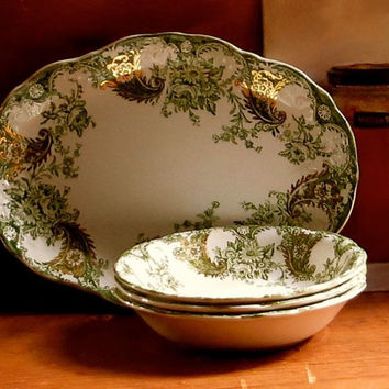 Antique Hand Painted Serving Dish and Berry Bowls, Lot of Four Pieces, New Wharf Pottery, Wood and Son England, Moss Sage Green Dinnerware,