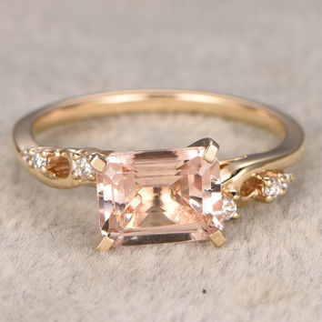 7x9mm VVS Morganite Engagement ring Yellow gold,Diamond wedding band,14k,Emerald Cut,Gemstone Promise Bridal Ring,Prongs,Pave Set,Handmade