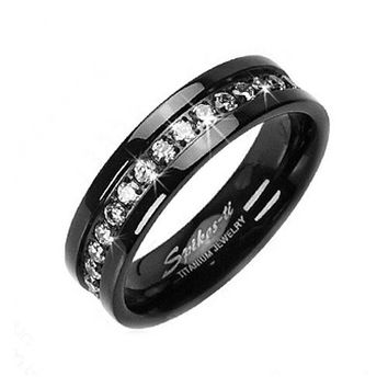 Solid Titanium Black IP ION White CZ Eternity Wedding Band Mens and Womens Ring (Sz 12)