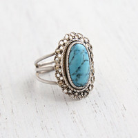 Vintage Sterling Silver Blue Stone Ring - Retro Signed Beau Adjustable Tri band Jewelry / Marbled Teal Oblong Oval Center