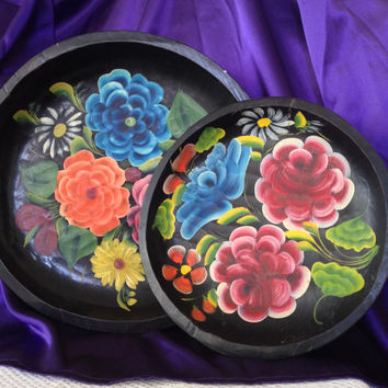 Batea Bowls Mexican Folk Art Toleware, Dough Bowls, Bohemian Decor, Hand Carved Painted Floral Treen 1940s, Set of 2