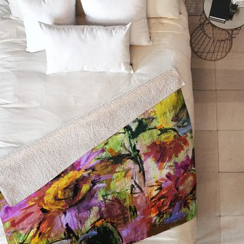 Ginette Fine Art Abstract Echinacea Flowers Fleece Throw Blanket