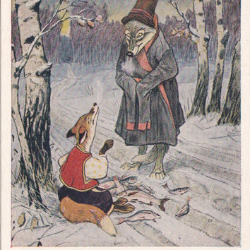 """Postcard Illustration by Rachev for Russian Folk Tale """"The Fox and The Wolf"""" - 1955, Soviet Artist"""