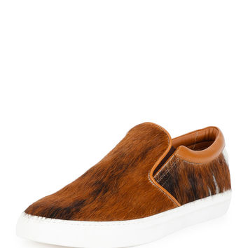 Herms Calf-Hair Slip-On Sneaker, Brown