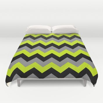 Chevron Silver Lime Duvet Cover by Alice Gosling