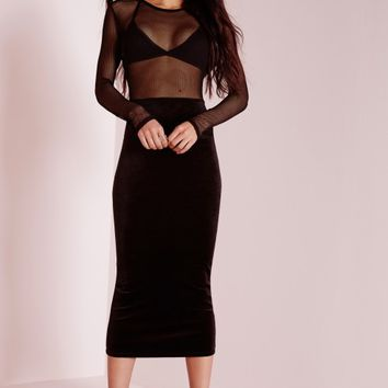 Missguided - Velvet Fishnet Insert Midi Dress Black