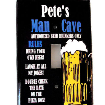Man Cave Decor Light Switch Plate Cover Add Your Custom Name