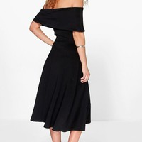 Ana Off Shoulder Oversized Midi Skater Dress | Boohoo