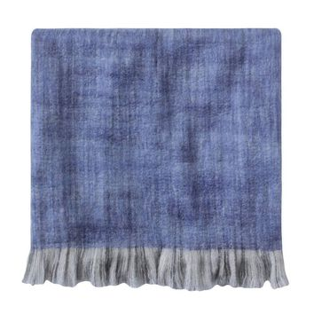 Ben and Jonah Confetti Throw Blanket with Fringe (Ultramarine Blue)
